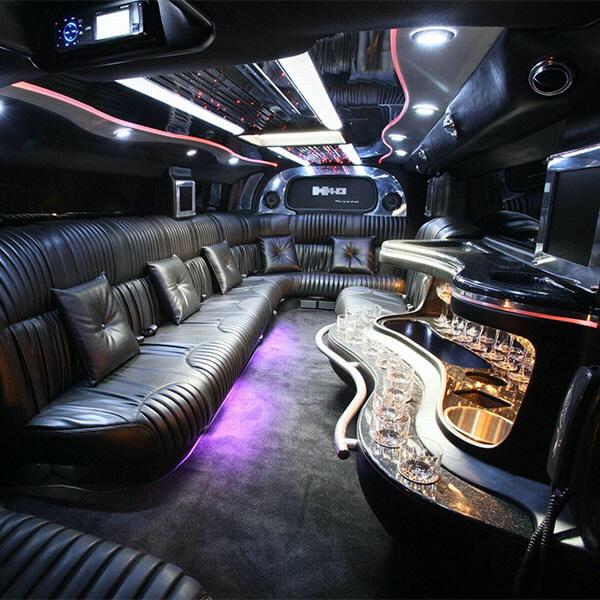 Inside Black Luxury Limousine